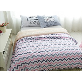 Creative Pink and Blue Ripple Print 4-Piece Cotton Duvet Cover Sets