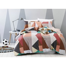 Neutral Contrast Color 4-Piece Cotton Duvet Cover Sets