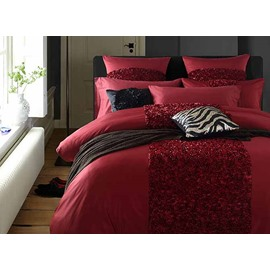 Luxurious Stereoscopic Embellishment Red 4-Piece Polyester Bedding Sets