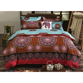 Lightweight Microfiber Bohemia Exotic Pattern 4-Piece Duvet Cover Sets