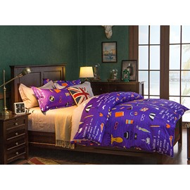 Simple Cartoon Pattern Purple Polyester 4-Piece Duvet Cover Sets