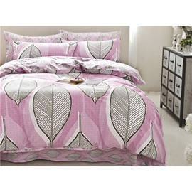 Full Size Leaves Pattern Purple Cotton 4-Piece Bedding Sets/Duvet Cover