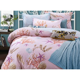 Fashion Personal Style Sea World Pattern Pink 4-Piece Cotton Bedding Sets/Duvet Cover