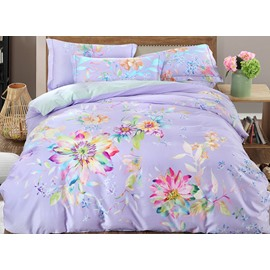 Glamorous Colorful Flowers Print Light Purple 4-Piece Cotton Duvet Cover Sets