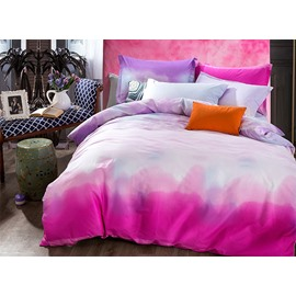 Unique Gradient Pink Color Pattern 4-Piece Cotton Duvet Cover Sets