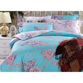 Luxurious Flowers Print Sky Blue 4-Piece Cotton Duvet Cover Sets
