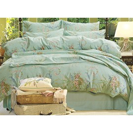 Fresh Retro Flowers Print Green 4-Piece Cotton Duvet Cover Sets