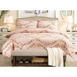 Noble Fresh Flowers Design Pink 4-Piece Cotton Duvet Cover Sets