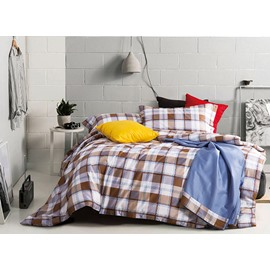 Pure Cotton Concise Plaid 4-Piece Bedding Sets