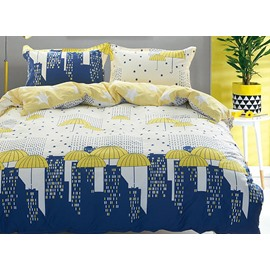 Minimalist Style Reversible Cityscape and Umbrella Print 4-Piece Cotton Bedding Sets
