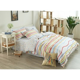 Colorful Reversible Polka Dot and Stripe Pure Cotton 4-Piece Bedding Sets