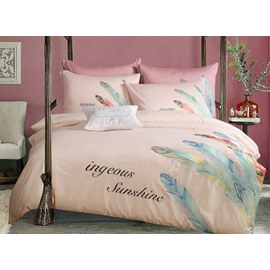 Chic Feather Print Pure Cotton Peach 4-Piece Bedding Sets