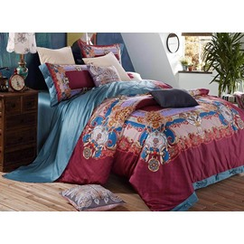 Royal Style Burgundy Reactive Printing 4-Piece Cotton Duvet Cover Sets