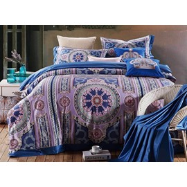 Noble Purple Elegant Medallion Print 4-Piece Cotton Duvet Cover Sets