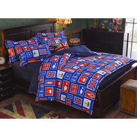 Modern London Icon Polyester 4-Piece Duvet Cover Sets
