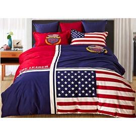 Creative American Flag Design 4-Piece Cotton Duvet Cover Sets
