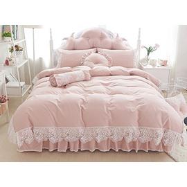 Beautiful Lace Embellishment 4-Piece Cotton Duvet Cover Sets