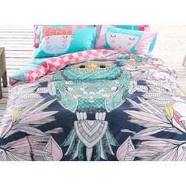 Big Owl and Leaves Print 4-Piece Cotton Kids Duvet Cover Sets