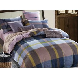 Neutral Plaid Print 4-Piece Cotton Duvet Cover Sets