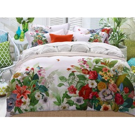 Gorgeous Jacobean Reactive Printing 4-Piece Tencel Duvet Cover Sets