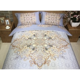 Luxury Aulic Pattern Print 4-Piece Cotton Duvet Cover Sets
