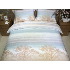 Gradient Stripe and Tree Print 4-Piece Cotton Duvet Cover Sets