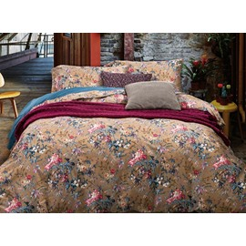 Exquisite Colorful Flowers Print 4-Piece Cotton Duvet Cover Sets