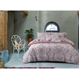 Exotic Style Floret Print 4-Piece Cotton Duvet Cover Sets