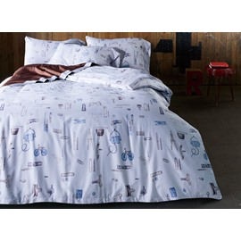 Creative Stationery Print 4-Piece Cotton Duvet Cover Sets