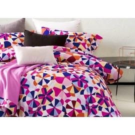 Contemporary Colorful Round Pattern Print 4-Piece Cotton Duvet Cover Sets