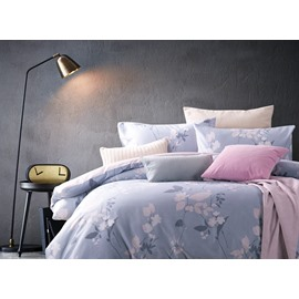 Gorgeous Floral Light Blue 4-Piece Cotton Duvet Cover Sets