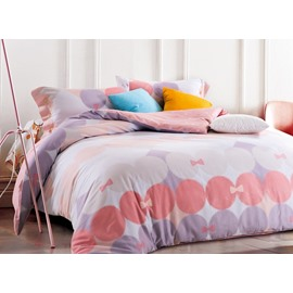 Modern Style Lovely Bowknot Print 4-Piece Cotton Duvet Cover Sets