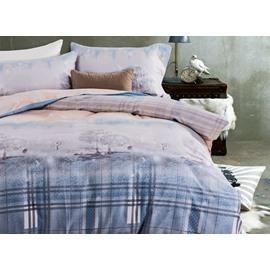 Dreamy Tree and Plaid Print 4-Piece Cotton Duvet Cover Sets