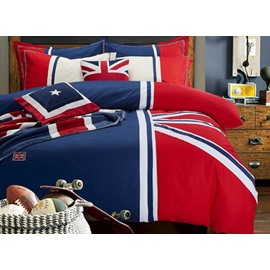 Unique Flag Design Union Jack Red and Blue 4-Piece Cotton Duvet Cover Sets