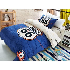 Unique Route 66 Print Blue Cotton 3-Piece Duvet Cover Sets