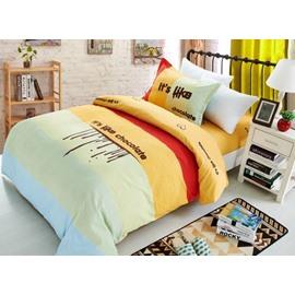 Creative Letter Print Color Block Cotton 3-Piece Duvet Cover Sets