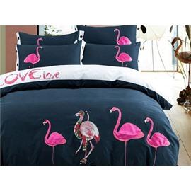 Elegant Pink Flamingo Embroidery 4-Piece Cotton Duvet Cover Sets