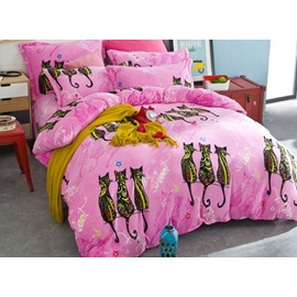 Creative Lovely Cat Print 4-Piece Flannel Duvet Cover Sets