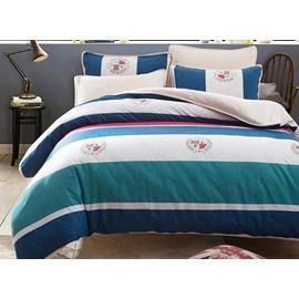 European Style Concise Stripe Print 4-Piece Cotton Duvet Cover Sets