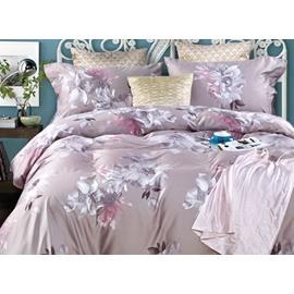 Elegant White Magnolia Print 4-Piece Cotton Duvet Cover Sets