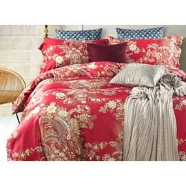 Vintage Style Jacobean Print Red 4-Piece Cotton Duvet Cover Sets