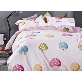 Lovely Mushroom Print 4-Piece Cotton Duvet Cover Sets
