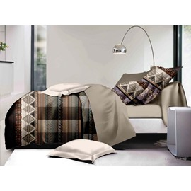 Unique Argyle and Plaid Print Polyester 4-Piece Duvet Cover Sets