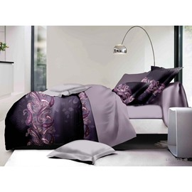 Purple Paisley Print Polyester 4-Piece Bedding Sets/Duvet Covers