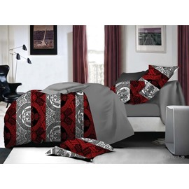 Unique Damask and Red Stripe Print 4-Piece Polyester Duvet Cover Sets