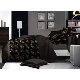 Gorgeous Chic Design Black Polyester 4-Piece Duvet Cover Sets
