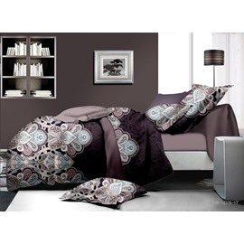 Amazing Damask Reactive Printing Polyester 4-Piece Duvet Cover Sets