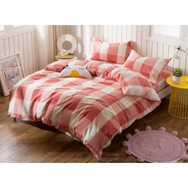 Exquisite Plaid Print 4-Piece Cotton Duvet Cover Sets