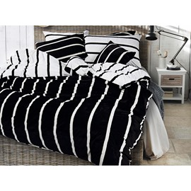 Neutral Style Stripe Print 4-Piece Cotton and Flannel Duvet Cover Sets
