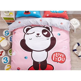 Naughty Panda Pattern Kids Cotton 4-Piece Duvet Cover Sets